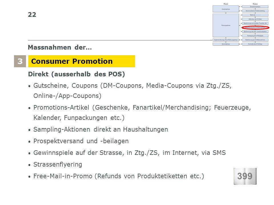 22 S I BS I B S C H W E I Z E R I S C H E S I N S T I T U T F Ü R B E T R I E B S Ö K O N O M I E Massnahmen der… Consumer Promotion 3 3 Direkt (ausserhalb des POS) Gutscheine, Coupons (DM-Coupons, Media-Coupons via Ztg./ZS, Online-/App-Coupons) Promotions-Artikel (Geschenke, Fanartikel/Merchandising; Feuerzeuge, Kalender, Funpackungen etc.) Sampling-Aktionen direkt an Haushaltungen Prospektversand und -beilagen Gewinnspiele auf der Strasse, in Ztg./ZS, im Internet, via SMS Strassenflyering Free-Mail-in-Promo (Refunds von Produktetiketten etc.) 399