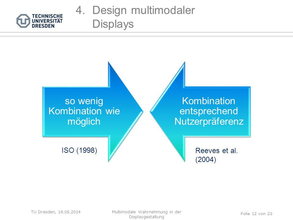 TU Dresden, 19.05.2014 so wenig Kombination wie möglich Kombination entsprechend Nutzerpräferenz ISO (1998) Reeves et al. (2004) Folie 12 von 23 4.Des