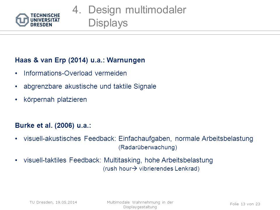 TU Dresden, 19.05.2014 Folie 13 von 23 4.Design multimodaler Displays Haas & van Erp (2014) u.a.: Warnungen Informations-Overload vermeiden abgrenzbar
