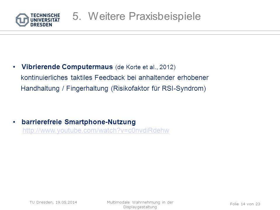 TU Dresden, 19.05.2014 Vibrierende Computermaus (de Korte et al., 2012) kontinuierliches taktiles Feedback bei anhaltender erhobener Handhaltung / Fin