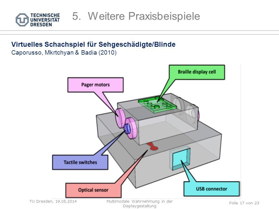 TU Dresden, 19.05.2014 Virtuelles Schachspiel für Sehgeschädigte/Blinde Caporusso, Mkrtchyan & Badia (2010) Folie 17 von 23 5.Weitere Praxisbeispiele