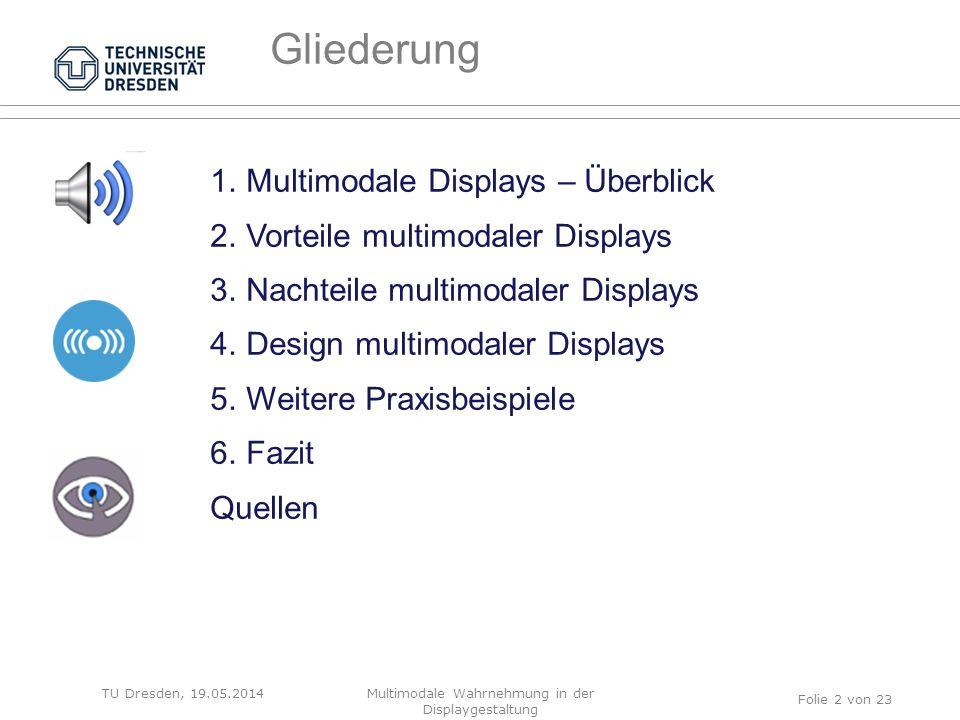 FRAGE AN EUCH… TU Dresden, 19.05.2014Multimodale Wahrnehmung in der Displaygestaltung Was versteht ihr unter multimodaler Displaygestaltung.