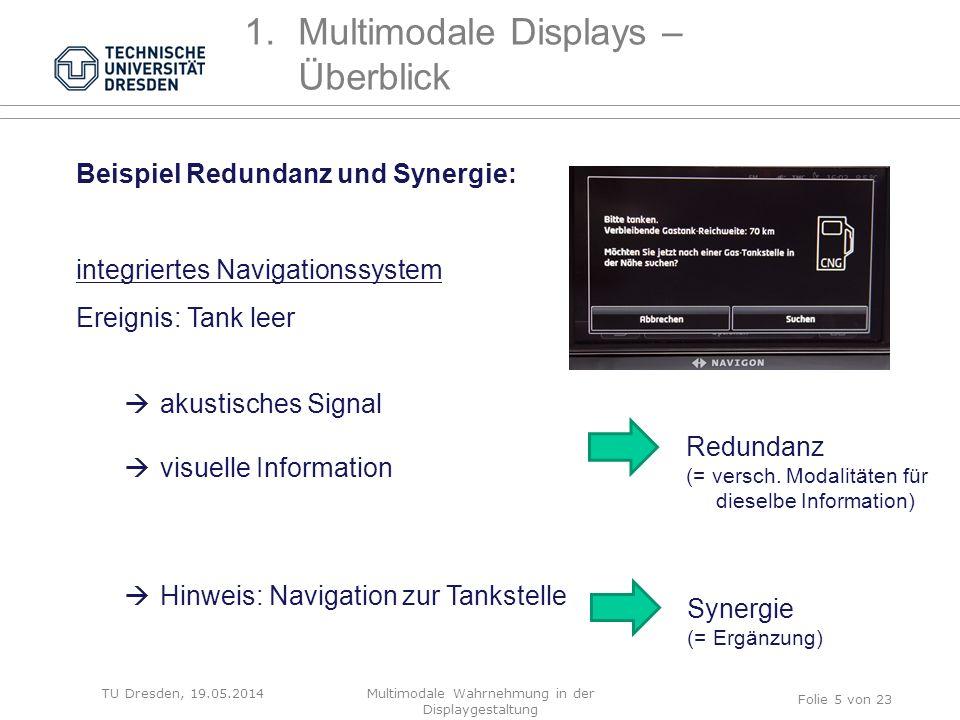 Beispiel Redundanz und Synergie: integriertes Navigationssystem Ereignis: Tank leer  akustisches Signal  visuelle Information  Hinweis: Navigation