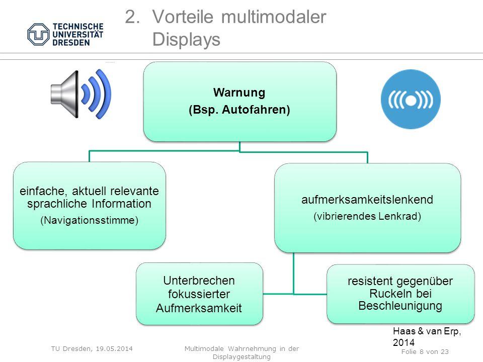 Warnung (Bsp. Autofahren) einfache, aktuell relevante sprachliche Information (Navigationsstimme) aufmerksamkeitslenkend (vibrierendes Lenkrad) resist