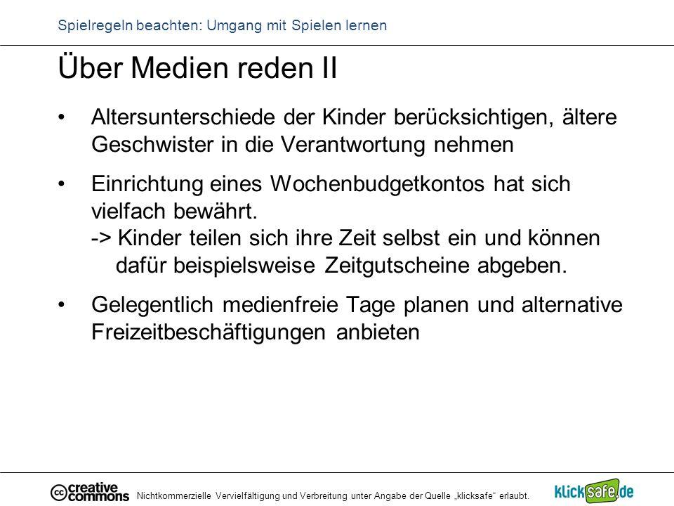 """Nichtkommerzielle Vervielfältigung und Verbreitung unter Angabe der Quelle """"klicksafe"""" erlaubt. Spielregeln beachten: Umgang mit Spielen lernen Über M"""