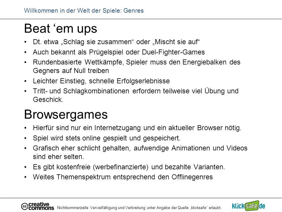 """Nichtkommerzielle Vervielfältigung und Verbreitung unter Angabe der Quelle """"klicksafe"""" erlaubt. Willkommen in der Welt der Spiele: Genres Beat 'em ups"""