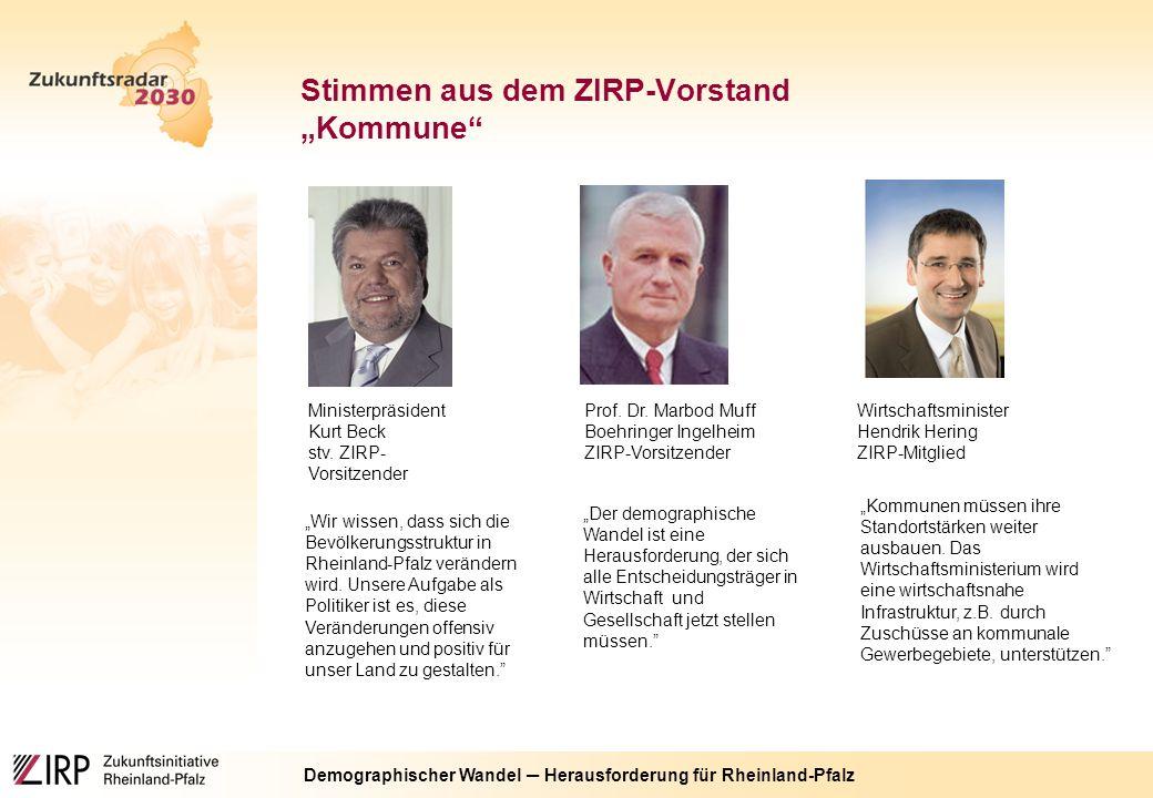 """Demographischer Wandel ─ Herausforderung für Rheinland-Pfalz Stimmen aus dem ZIRP-Vorstand """"Kommune Ministerpräsident Kurt Beck stv."""