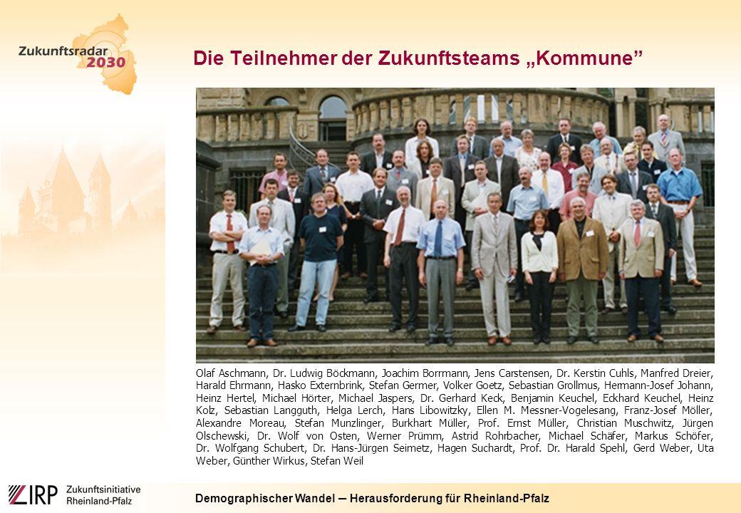"""Demographischer Wandel ─ Herausforderung für Rheinland-Pfalz Die Teilnehmer der Zukunftsteams """"Kommune Olaf Aschmann, Dr."""