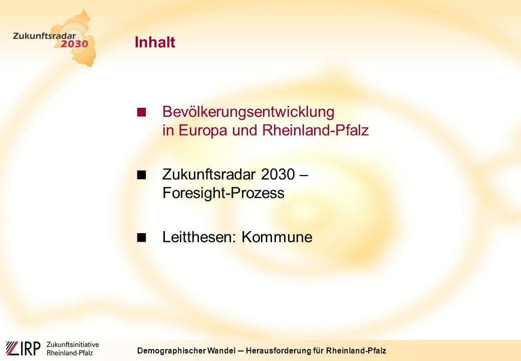 """Demographischer Wandel ─ Herausforderung für Rheinland-Pfalz Der Foresight-Prozess """"Zukunftsradar 2030 Themen: Kommune, Arbeitswelt, Miteinander der Generationen, Markt Szenarien 2030 Zukunft neue denken Handlungsansätze neue Denkansätze unterschiedliche Experten und Bürger"""