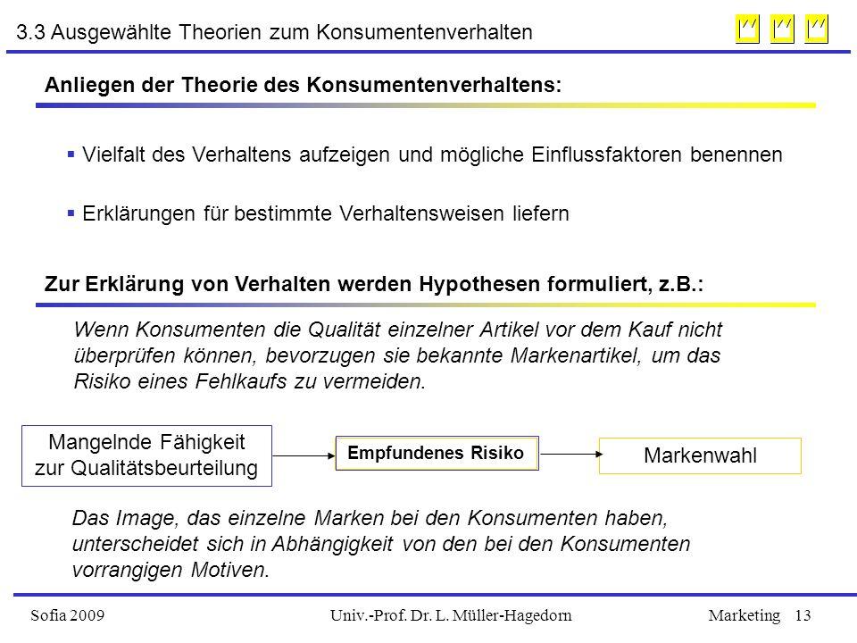Univ.-Prof. Dr. L. Müller-HagedornSofia 2009Marketing13 3.3 Ausgewählte Theorien zum Konsumentenverhalten Anliegen der Theorie des Konsumentenverhalte