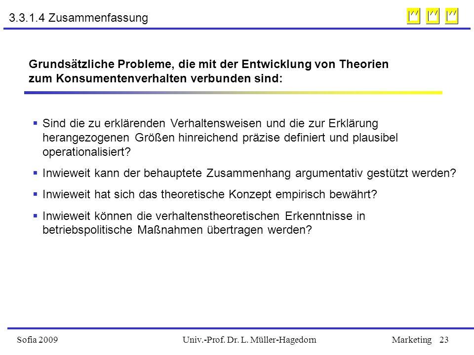 Univ.-Prof. Dr. L. Müller-HagedornSofia 2009Marketing23 3.3.1.4 Zusammenfassung Grundsätzliche Probleme, die mit der Entwicklung von Theorien zum Kons
