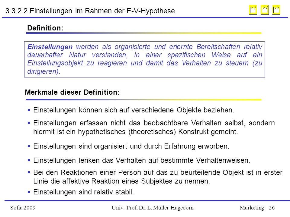 Univ.-Prof. Dr. L. Müller-HagedornSofia 2009Marketing26 3.3.2.2 Einstellungen im Rahmen der E-V-Hypothese Einstellungen werden als organisierte und er
