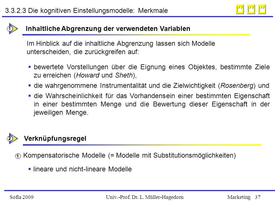Univ.-Prof. Dr. L. Müller-HagedornSofia 2009Marketing37 3.3.2.3 Die kognitiven Einstellungsmodelle: Merkmale Inhaltliche Abgrenzung der verwendeten Va