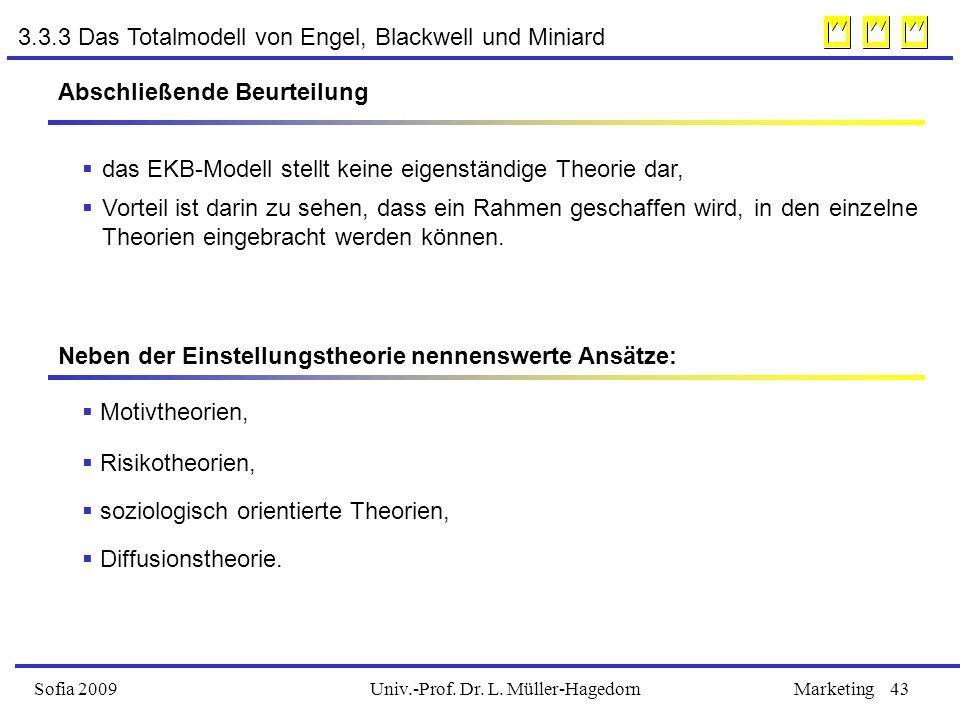 Univ.-Prof. Dr. L. Müller-HagedornSofia 2009Marketing43 Abschließende Beurteilung  das EKB-Modell stellt keine eigenständige Theorie dar,  Vorteil i