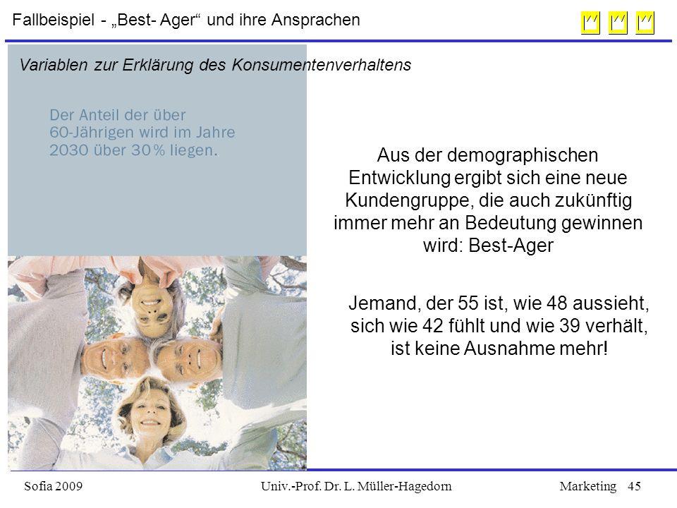 Univ.-Prof. Dr. L. Müller-HagedornSofia 2009Marketing45 Aus der demographischen Entwicklung ergibt sich eine neue Kundengruppe, die auch zukünftig imm