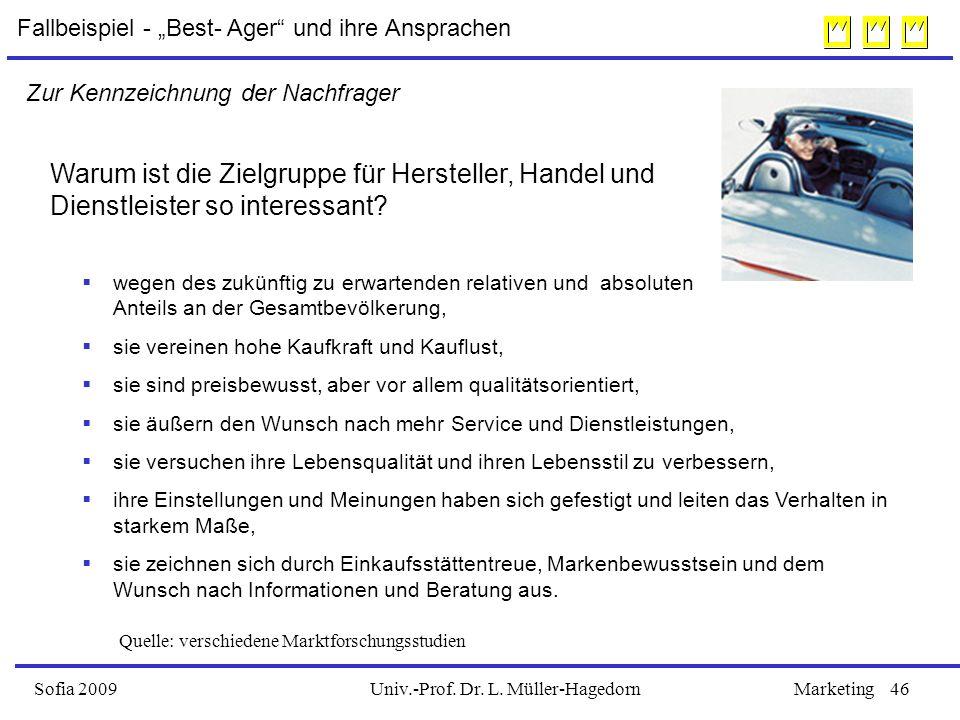 Univ.-Prof. Dr. L. Müller-HagedornSofia 2009Marketing46 Warum ist die Zielgruppe für Hersteller, Handel und Dienstleister so interessant?  wegen des
