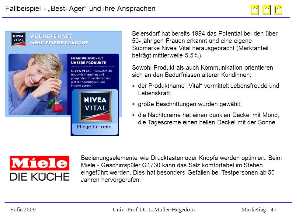 Univ.-Prof. Dr. L. Müller-HagedornSofia 2009Marketing47 Beiersdorf hat bereits 1994 das Potential bei den über 50- jährigen Frauen erkannt und eine ei