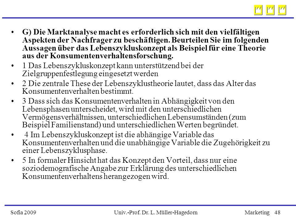 Univ.-Prof. Dr. L. Müller-HagedornSofia 2009Marketing48 G) Die Marktanalyse macht es erforderlich sich mit den vielfältigen Aspekten der Nachfrager zu