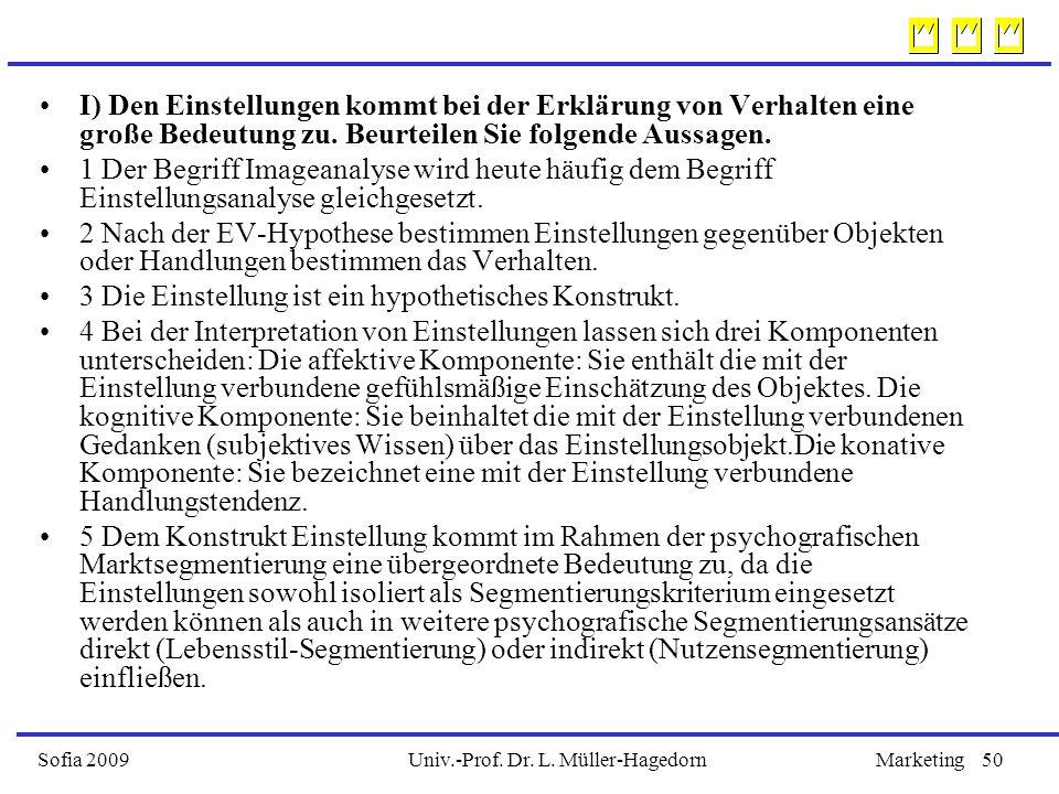Univ.-Prof. Dr. L. Müller-HagedornSofia 2009Marketing50 I) Den Einstellungen kommt bei der Erklärung von Verhalten eine große Bedeutung zu. Beurteilen