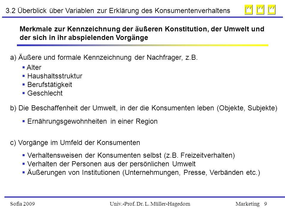 Univ.-Prof. Dr. L. Müller-HagedornSofia 2009Marketing9 Merkmale zur Kennzeichnung der äußeren Konstitution, der Umwelt und der sich in ihr abspielende