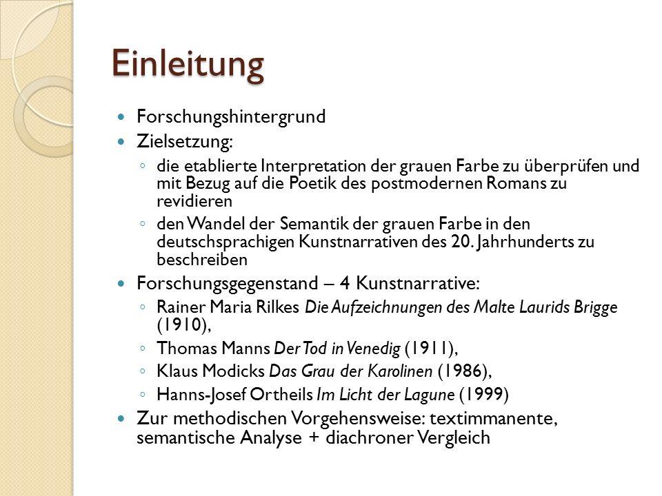 Einleitung Forschungshintergrund Zielsetzung: ◦ die etablierte Interpretation der grauen Farbe zu überprüfen und mit Bezug auf die Poetik des postmodernen Romans zu revidieren ◦ den Wandel der Semantik der grauen Farbe in den deutschsprachigen Kunstnarrativen des 20.