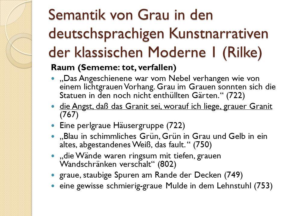 """Semantik von Grau in den deutschsprachigen Kunstnarrativen der klassischen Moderne 1 (Rilke) Raum (Sememe: tot, verfallen) """"Das Angeschienene war vom Nebel verhangen wie von einem lichtgrauen Vorhang."""