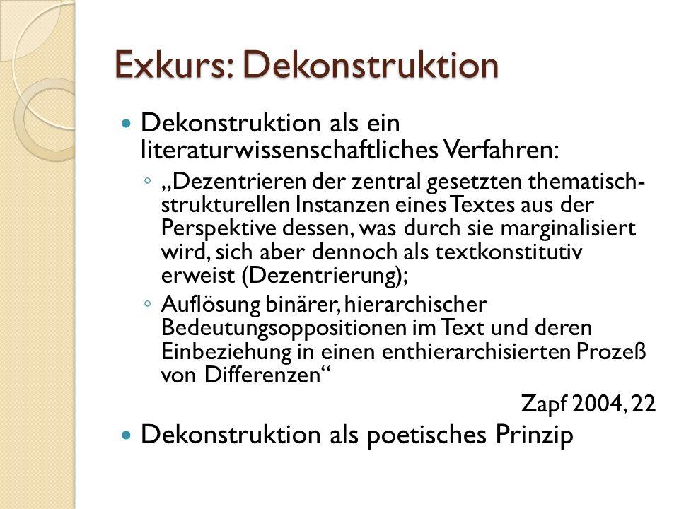 """Exkurs: Dekonstruktion Dekonstruktion als ein literaturwissenschaftliches Verfahren: ◦ """"Dezentrieren der zentral gesetzten thematisch- strukturellen Instanzen eines Textes aus der Perspektive dessen, was durch sie marginalisiert wird, sich aber dennoch als textkonstitutiv erweist (Dezentrierung); ◦ Auflösung binärer, hierarchischer Bedeutungsoppositionen im Text und deren Einbeziehung in einen enthierarchisierten Prozeß von Differenzen Zapf 2004, 22 Dekonstruktion als poetisches Prinzip"""