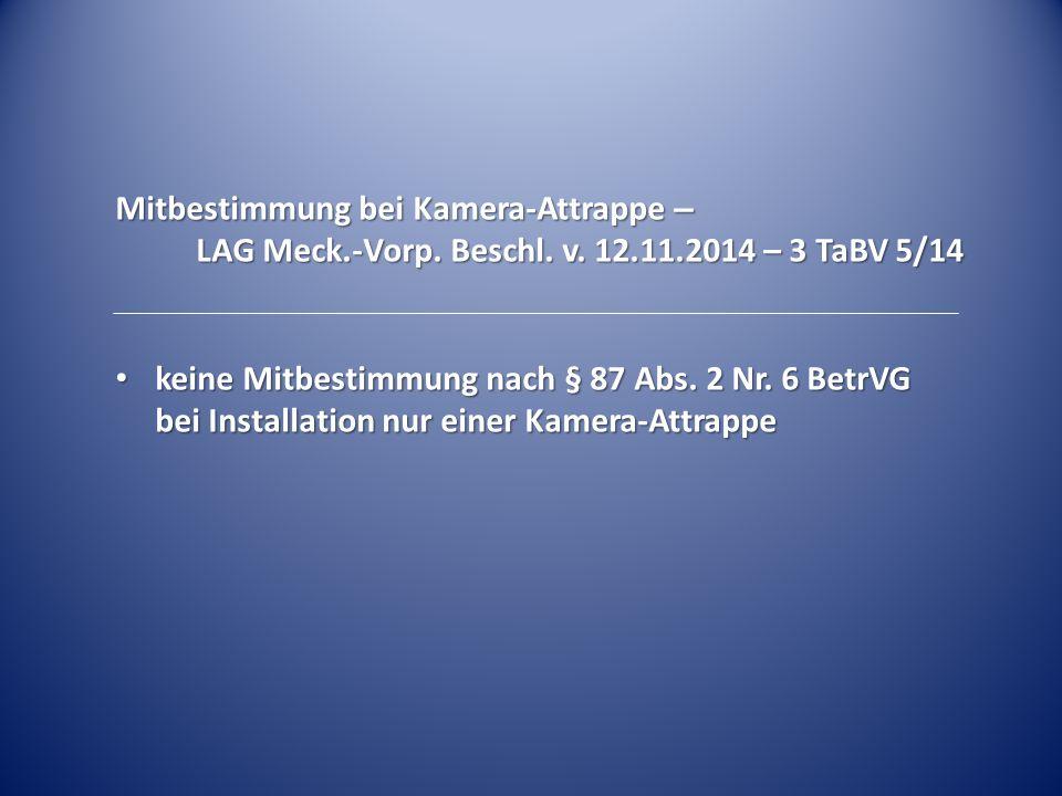 Mitbestimmung bei Kamera-Attrappe – LAG Meck.-Vorp. Beschl. v. 12.11.2014 – 3 TaBV 5/14 keine Mitbestimmung nach § 87 Abs. 2 Nr. 6 BetrVG bei Installa