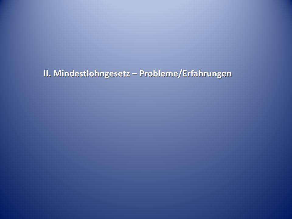 II. Mindestlohngesetz – Probleme/Erfahrungen