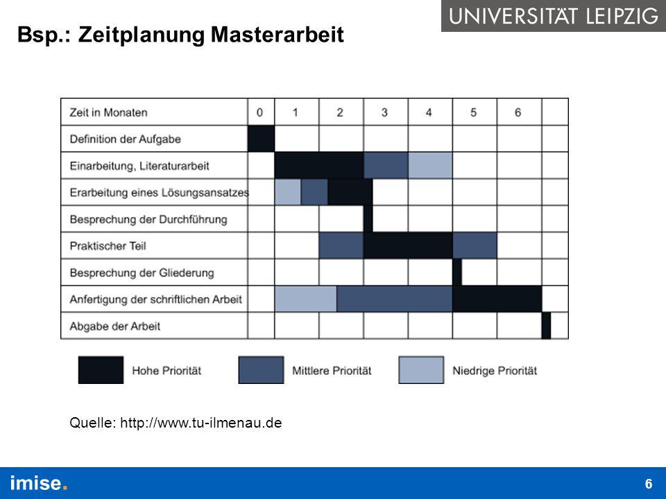 Bsp.: Zeitplanung Masterarbeit Quelle: http://www.tu-ilmenau.de 6