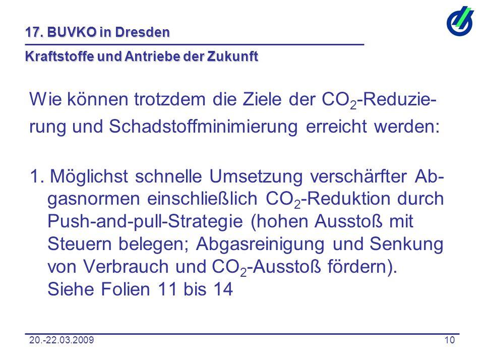 20.-22.03.200910 17. BUVKO in Dresden Kraftstoffe und Antriebe der Zukunft Wie können trotzdem die Ziele der CO 2 -Reduzie- rung und Schadstoffminimie