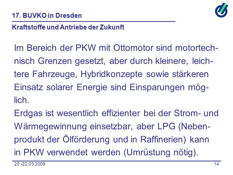 20.-22.03.200914 17. BUVKO in Dresden Kraftstoffe und Antriebe der Zukunft Im Bereich der PKW mit Ottomotor sind motortech- nisch Grenzen gesetzt, abe