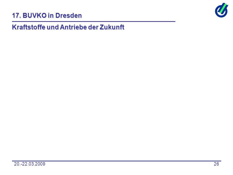 20.-22.03.200926 17. BUVKO in Dresden Kraftstoffe und Antriebe der Zukunft