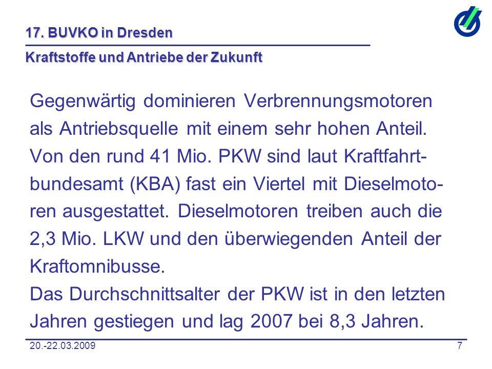 20.-22.03.20097 17. BUVKO in Dresden Kraftstoffe und Antriebe der Zukunft Gegenwärtig dominieren Verbrennungsmotoren als Antriebsquelle mit einem sehr