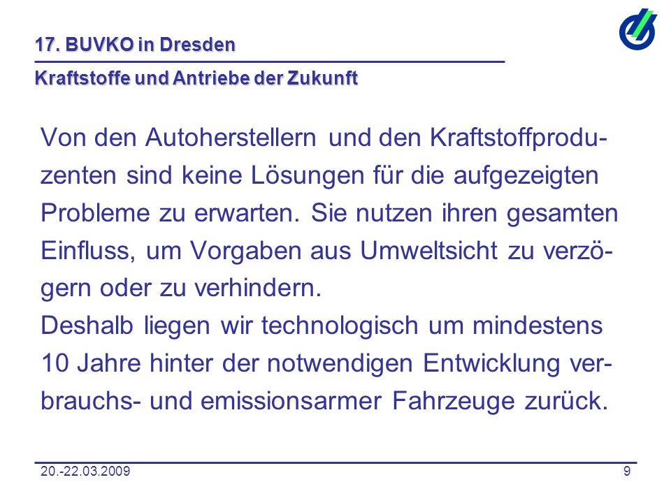 20.-22.03.20099 17. BUVKO in Dresden Kraftstoffe und Antriebe der Zukunft Von den Autoherstellern und den Kraftstoffprodu- zenten sind keine Lösungen