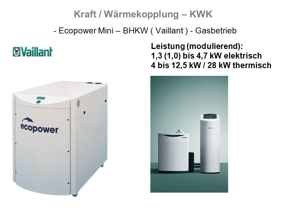 Kraft / Wärmekopplung – KWK - Ecopower Mini – BHKW ( Vaillant ) - Gasbetrieb Leistung (modulierend): 1,3 (1,0) bis 4,7 kW elektrisch 4 bis 12,5 kW / 28 kW thermisch