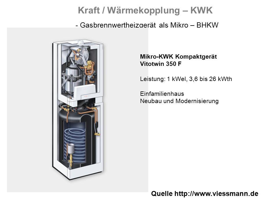 Quelle http://www.viessmann.de Kraft / Wärmekopplung – KWK - Gasbrennwertheizgerät als Mikro – BHKW Mikro-KWK Kompaktgerät Vitotwin 350 F Leistung: 1 kWel, 3,6 bis 26 kWth Einfamilienhaus Neubau und Modernisierung