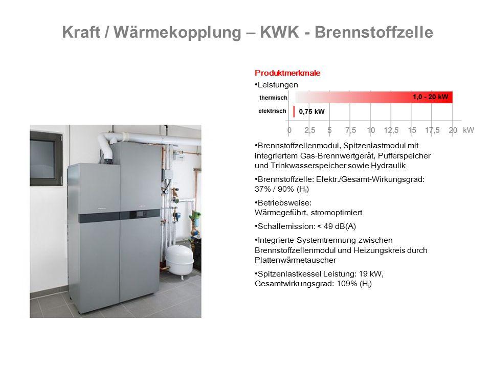 Kraft / Wärmekopplung – KWK - Brennstoffzelle Produktmerkmale Leistungen Brennstoffzellenmodul, Spitzenlastmodul mit integriertem Gas-Brennwertgerät, Pufferspeicher und Trinkwasserspeicher sowie Hydraulik Brennstoffzelle: Elektr./Gesamt-Wirkungsgrad: 37% / 90% (H i ) Betriebsweise: Wärmegeführt, stromoptimiert Schallemission: < 49 dB(A) Integrierte Systemtrennung zwischen Brennstoffzellenmodul und Heizungskreis durch Plattenwärmetauscher Spitzenlastkessel Leistung: 19 kW, Gesamtwirkungsgrad: 109% (H i )
