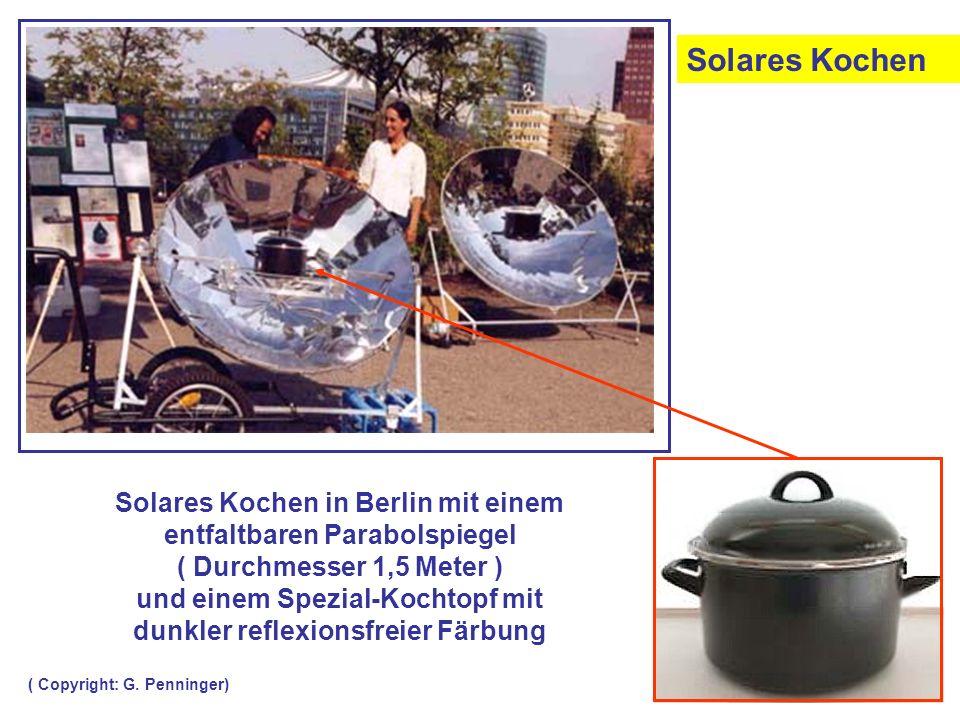 Solares Kochen in Berlin mit einem entfaltbaren Parabolspiegel ( Durchmesser 1,5 Meter ) und einem Spezial-Kochtopf mit dunkler reflexionsfreier Färbu