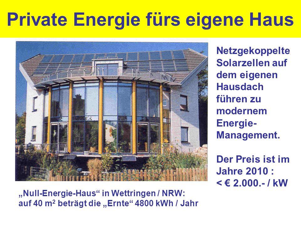 Private Energie fürs eigene Haus Netzgekoppelte Solarzellen auf dem eigenen Hausdach führen zu modernem Energie- Management. Der Preis ist im Jahre 20
