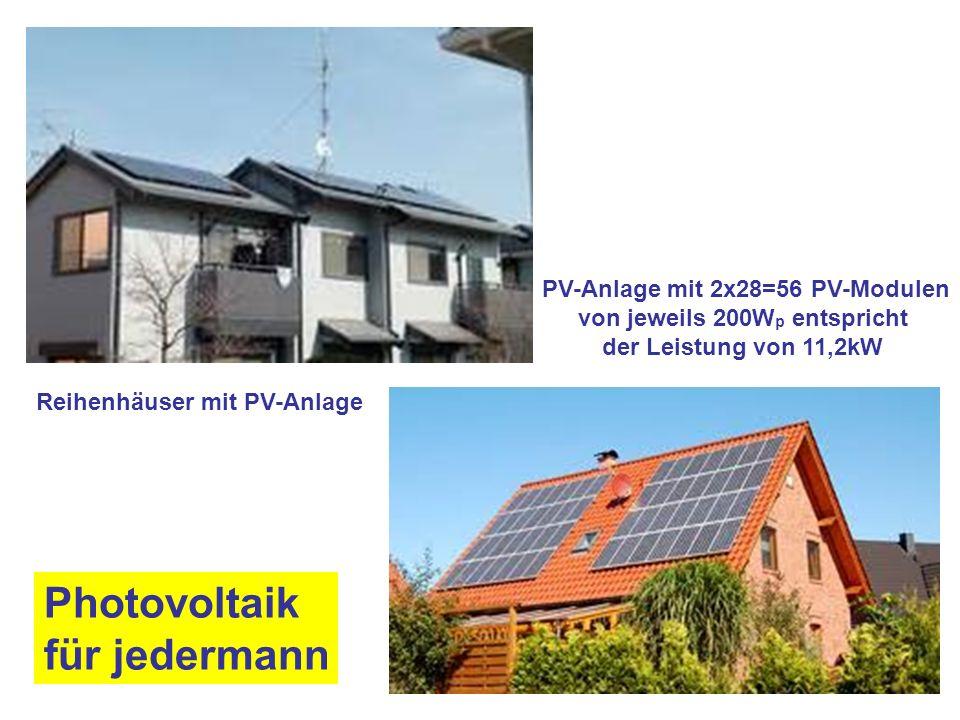 Photovoltaik für jedermann PV-Anlage mit 2x28=56 PV-Modulen von jeweils 200W p entspricht der Leistung von 11,2kW Reihenhäuser mit PV-Anlage