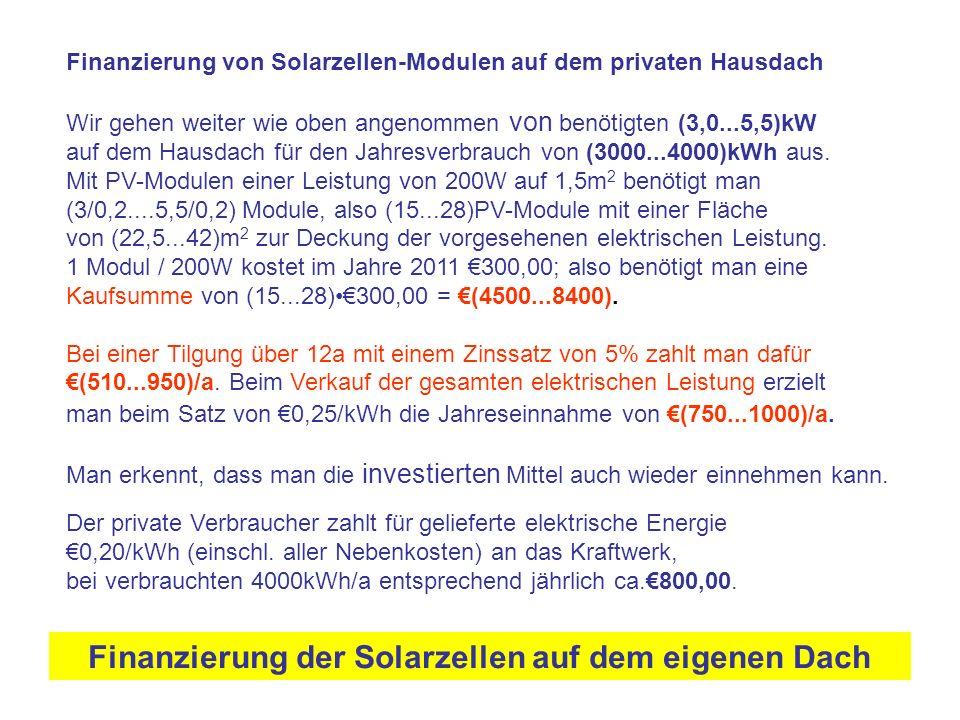 Finanzierung der Solarzellen auf dem eigenen Dach Der private Verbraucher zahlt für gelieferte elektrische Energie €0,20/kWh (einschl. aller Nebenkost