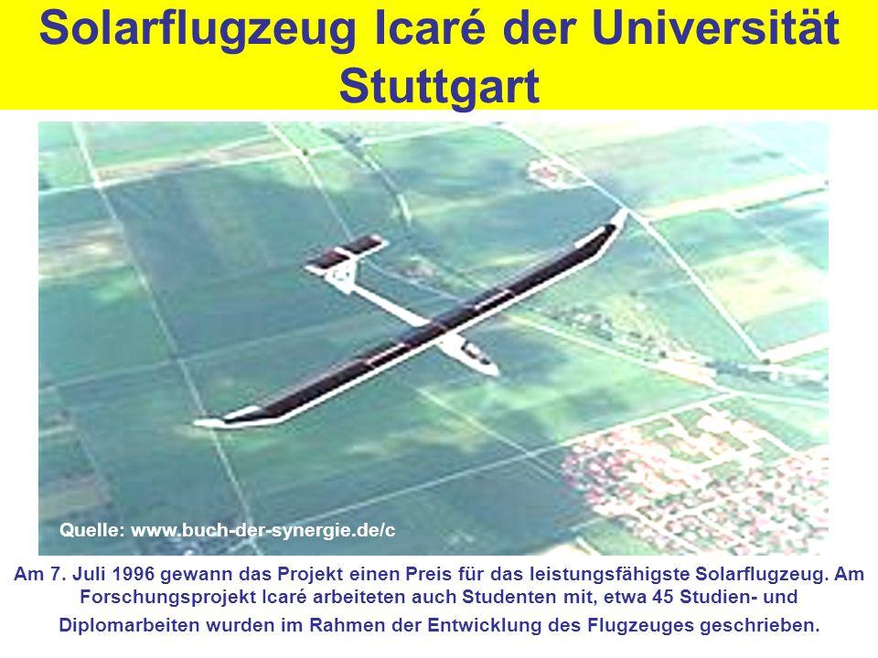 Solarflugzeug Icaré der Universität Stuttgart Am 7. Juli 1996 gewann das Projekt einen Preis für das leistungsfähigste Solarflugzeug. Am Forschungspro