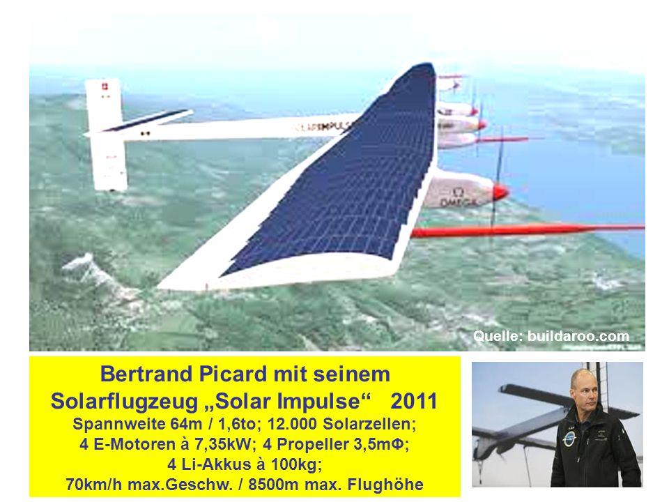 "Bertrand Picard mit seinem Solarflugzeug ""Solar Impulse 2011 Spannweite 64m / 1,6to; 12.000 Solarzellen; 4 E-Motoren à 7,35kW; 4 Propeller 3,5mΦ; 4 Li-Akkus à 100kg; 70km/h max.Geschw."