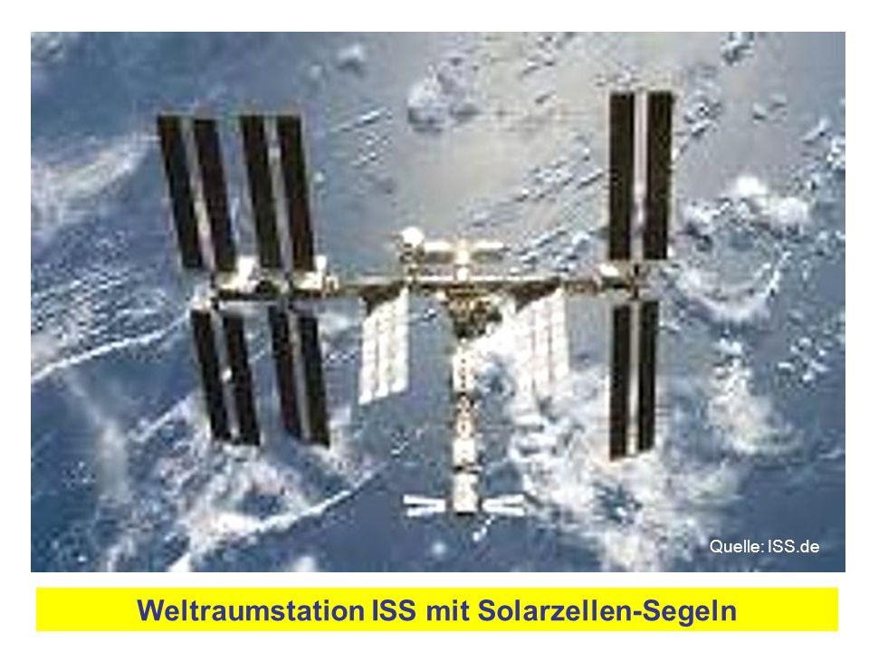 Weltraumstation ISS mit Solarzellen-Segeln Quelle: ISS.de