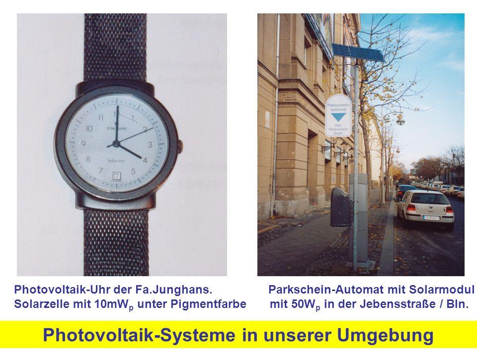 Photovoltaik-Uhr der Fa.Junghans. Parkschein-Automat mit Solarmodul Solarzelle mit 10mW p unter Pigmentfarbe mit 50W p in der Jebensstraße / Bln. Phot