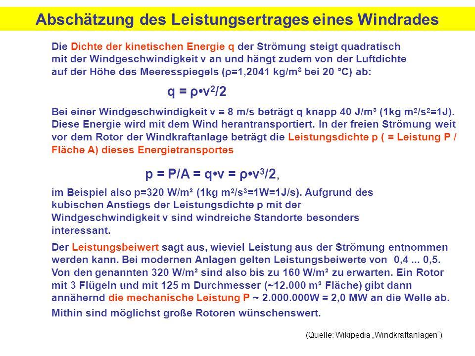Die Dichte der kinetischen Energie q der Strömung steigt quadratisch mit der Windgeschwindigkeit v an und hängt zudem von der Luftdichte auf der Höhe des Meeresspiegels (ρ=1,2041 kg/m 3 bei 20 °C) ab: Bei einer Windgeschwindigkeit v = 8 m/s beträgt q knapp 40 J/m³ (1kg m 2 /s 2 =1J).