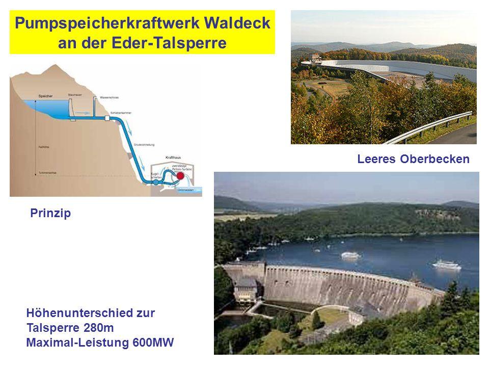 Pumpspeicherkraftwerk Waldeck an der Eder-Talsperre Höhenunterschied zur Talsperre 280m Maximal-Leistung 600MW Leeres Oberbecken Prinzip