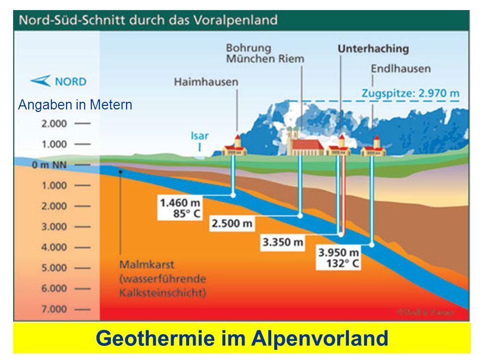 Geothermie im Alpenvorland Angaben in Metern