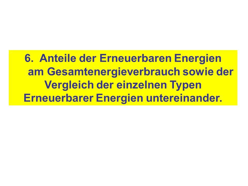 6. Anteile der Erneuerbaren Energien am Gesamtenergieverbrauch sowie der Vergleich der einzelnen Typen Erneuerbarer Energien untereinander.